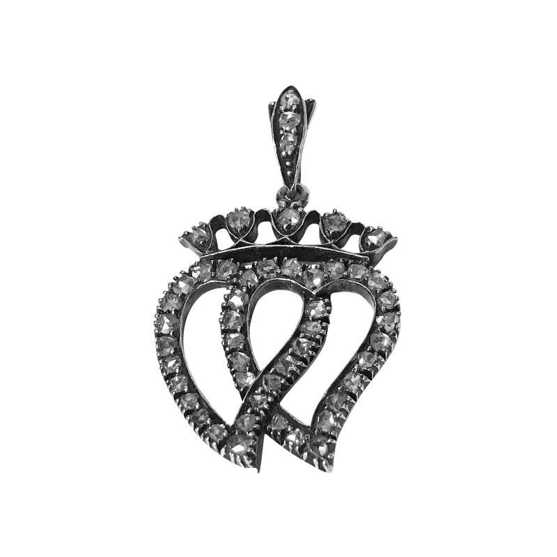 Antique 19th century Diamond double Heart Pendant C 1850