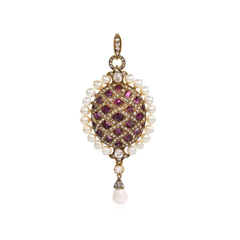 Antique Almandine Garnet Diamond and Pearl Pendant in 18k Gold