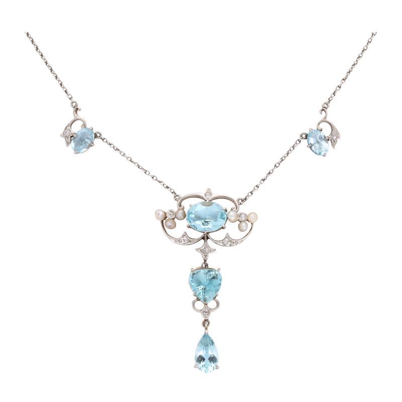 Antique Aquamarine and Diamond Necklace