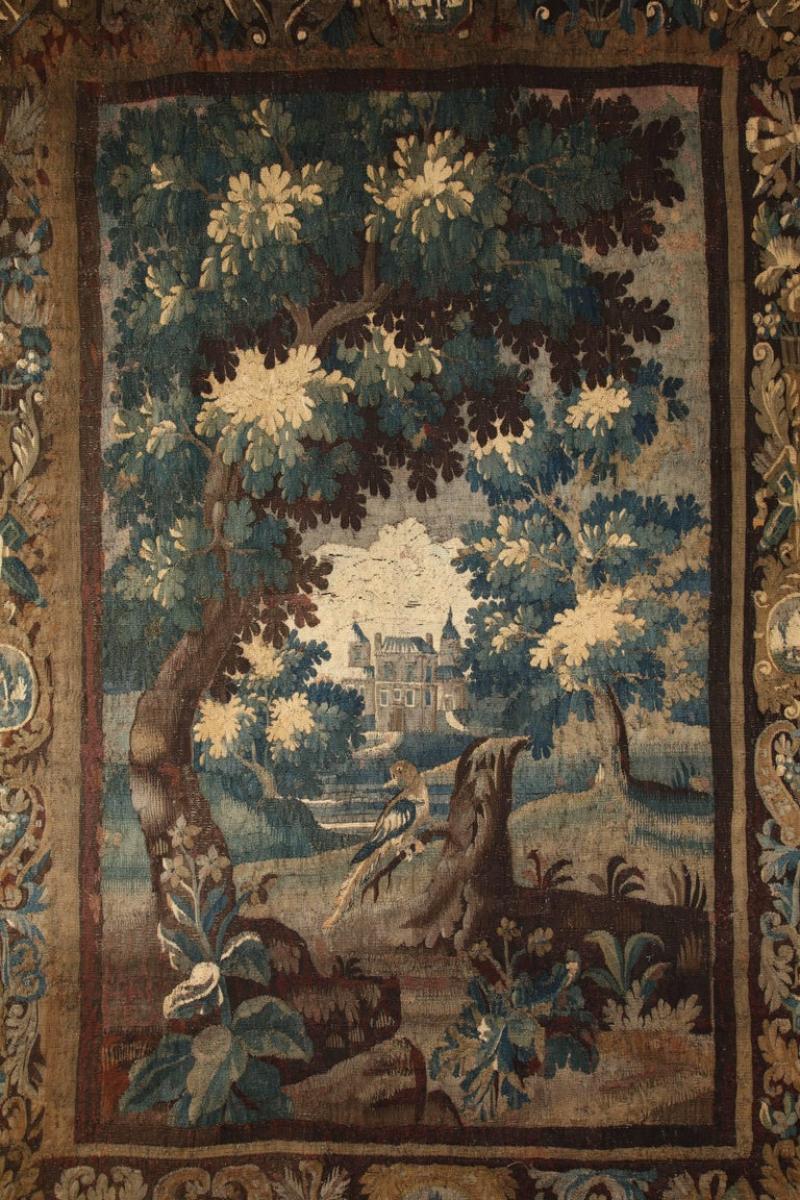 Antique Aubusson Verdure Landscape Tapestry