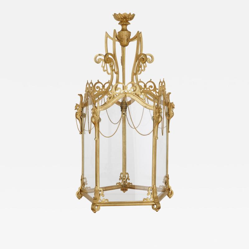 Antique Baroque Style Glass and Gilt Bronze Lantern