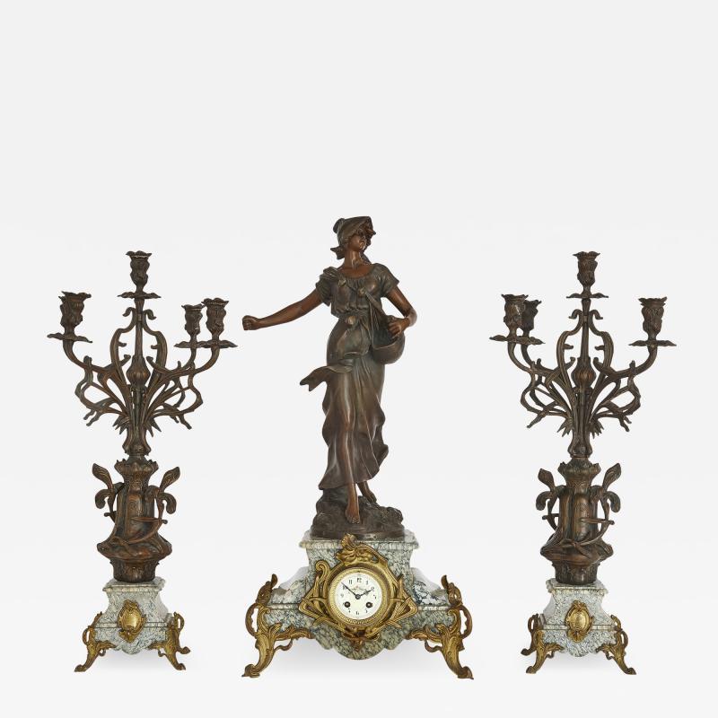 Antique Belle poque Sculptural Three Piece Clock Set after Auguste Moreau