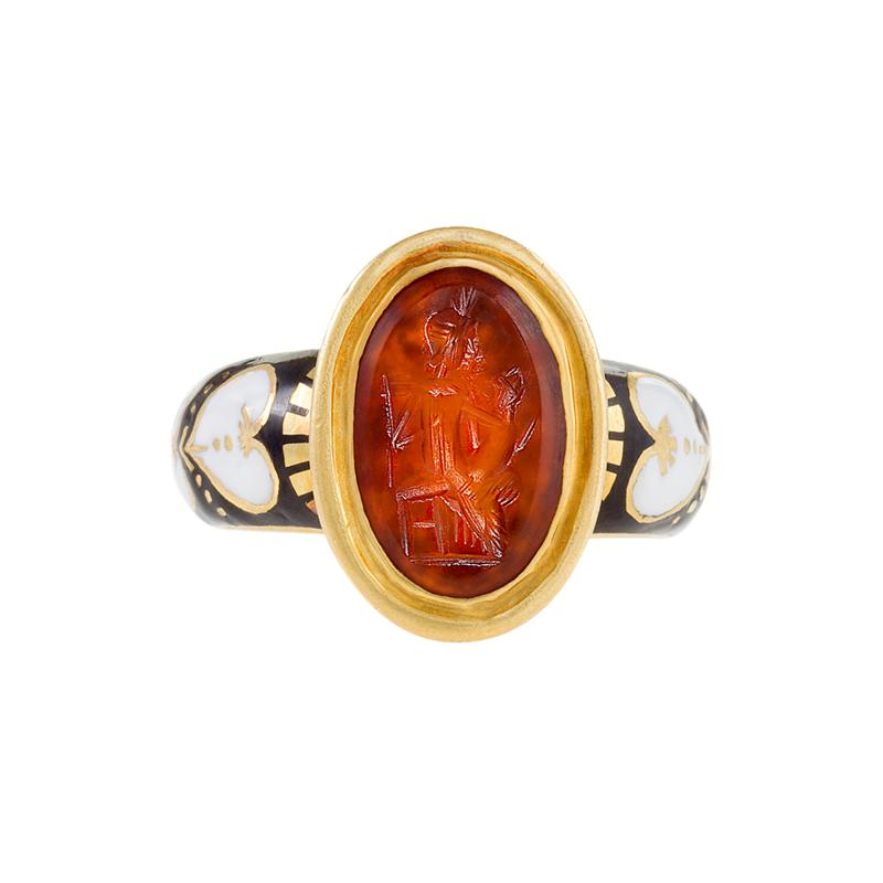 Antique Black White Enamel and Gold Ring featuring a Red Intaglio Carving