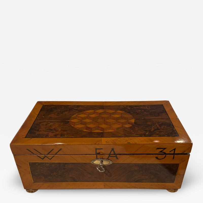 Antique Box Walnut Walnut Roots Ebony and Maple Germany circa 1880