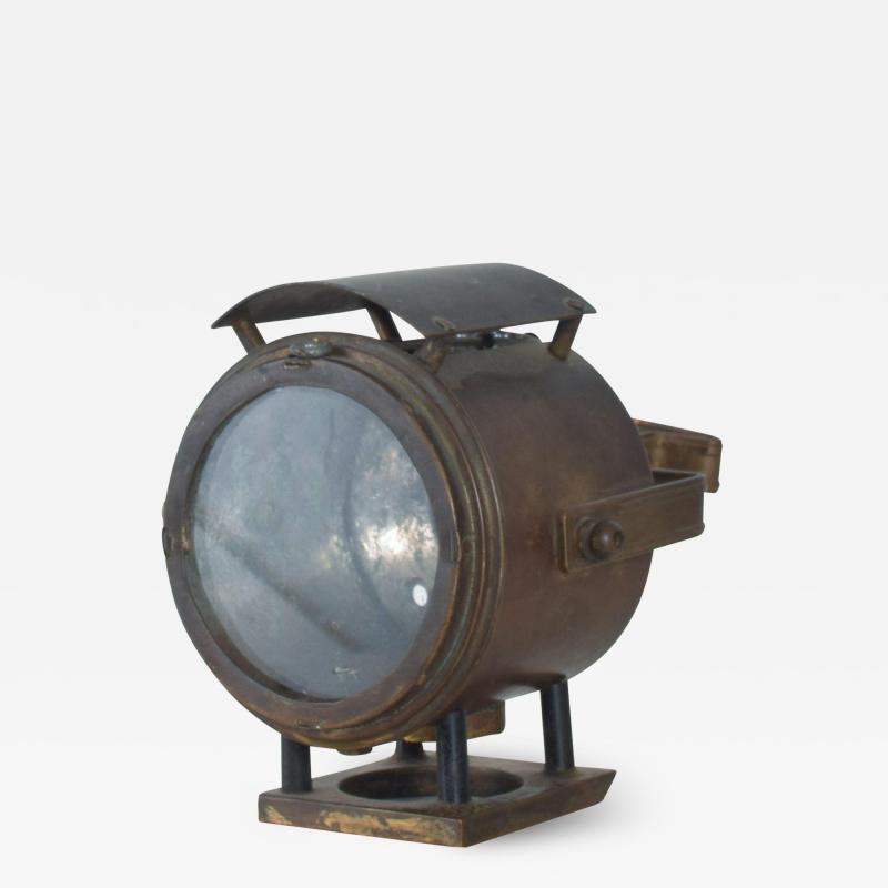 Antique Brass Bike Motorcycle Light Lamp Lantern circa 1940s