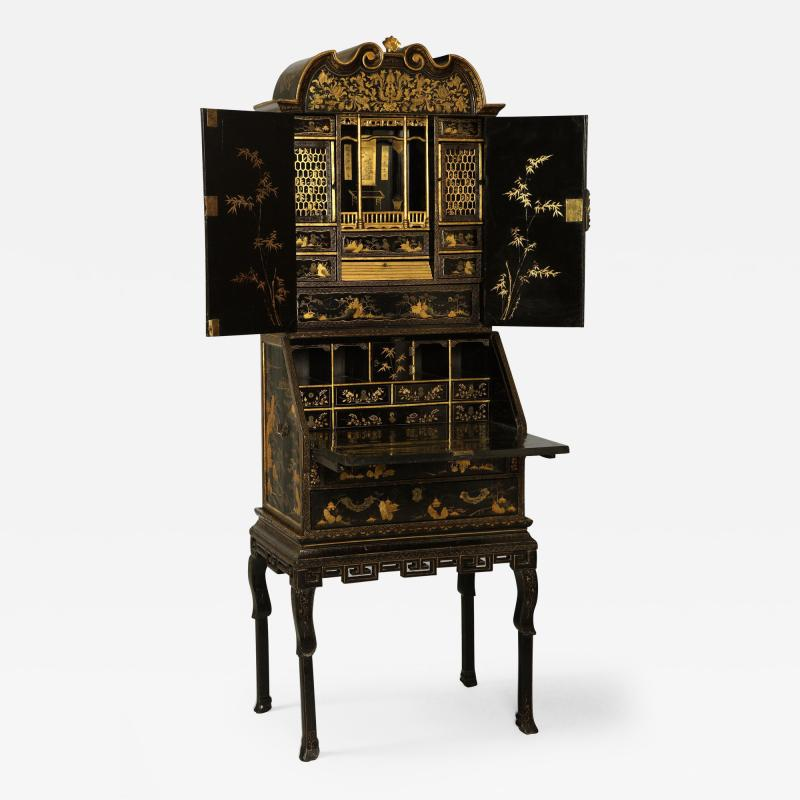 Antique Chinese Export Lacquer Bureau Cabinet in Three Sections