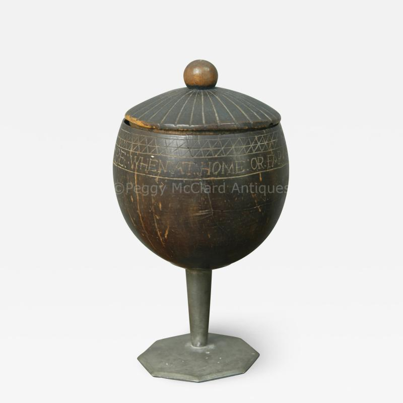 Antique Coconut Pewter Goblet Carved by Captain Edmund Williams