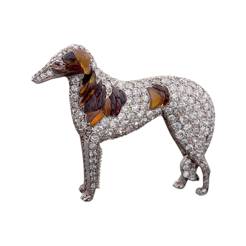 Antique Diamond 15k Gold Silver Diamond Borzoi Dog Brooch with Carved Amber