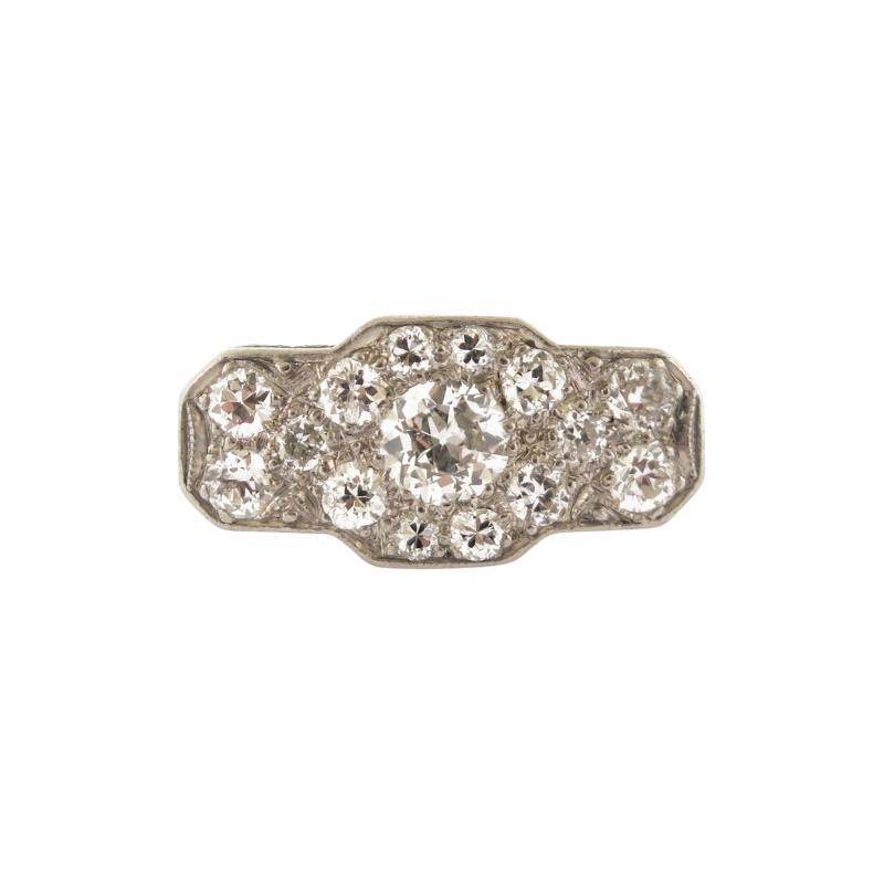 Antique Diamond Cluster Platinum Ring