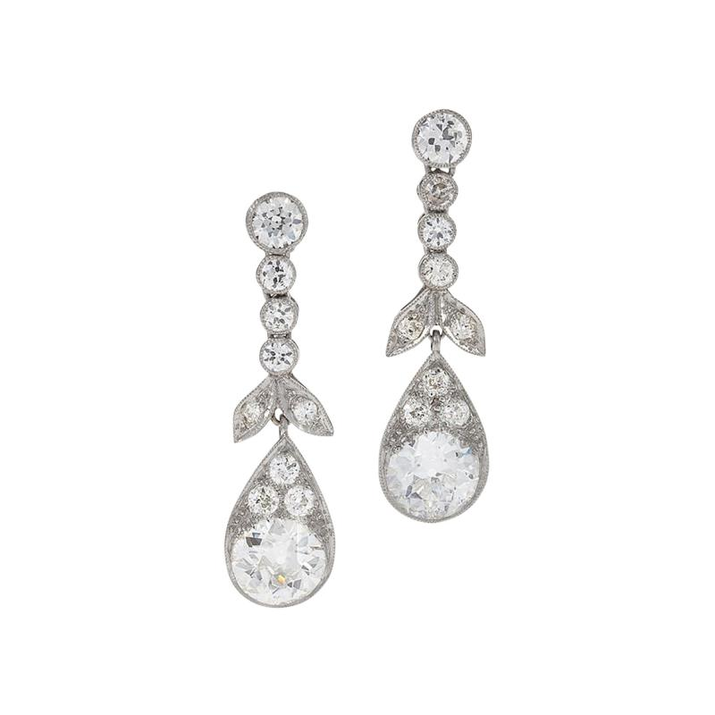 Antique Diamond Drop Earrings