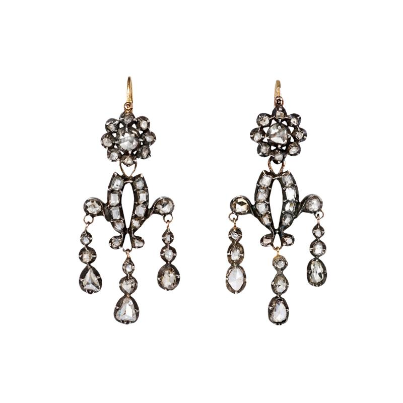 Antique Diamond Girandole Style Earrings in Sterling Silver and Gold