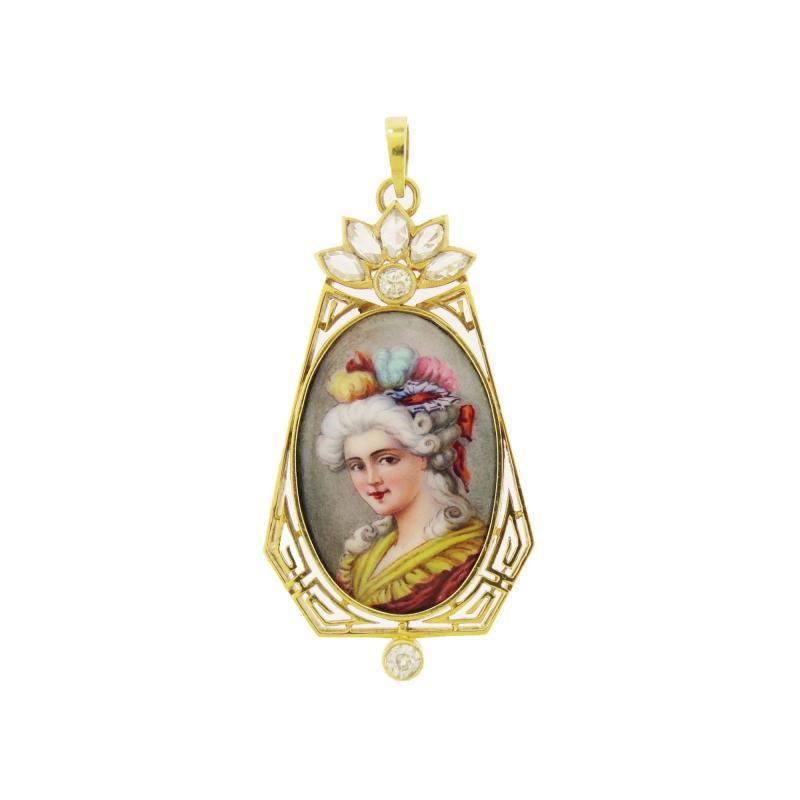 Antique Diamond Portrait Pendant