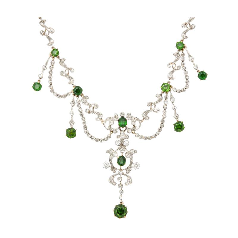 Antique Diamond and Demantoid Garnet Necklace