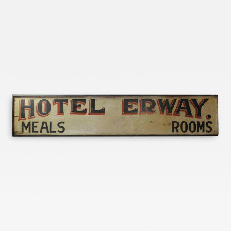 Antique Double Sided Hand Painted Wood Hotel Erway Sign