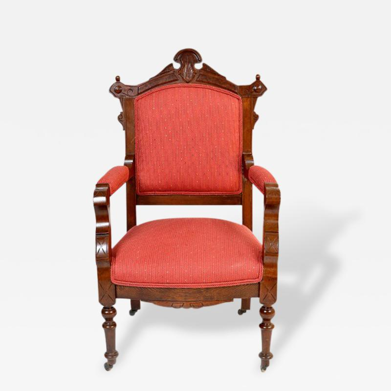Antique Eastlake Walnut Armchair Victorian Period