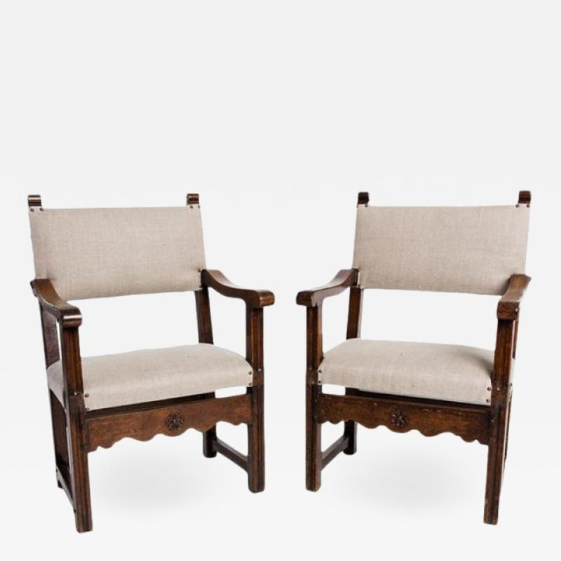 Antique English Country Armchairs with Floral Carvings