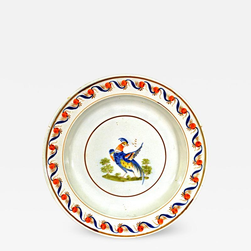Antique English Pearlware Peafowl Plate
