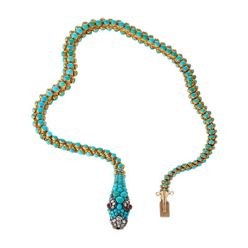 Antique English Turquoise Diamond Ruby and Gold Serpent Necklace