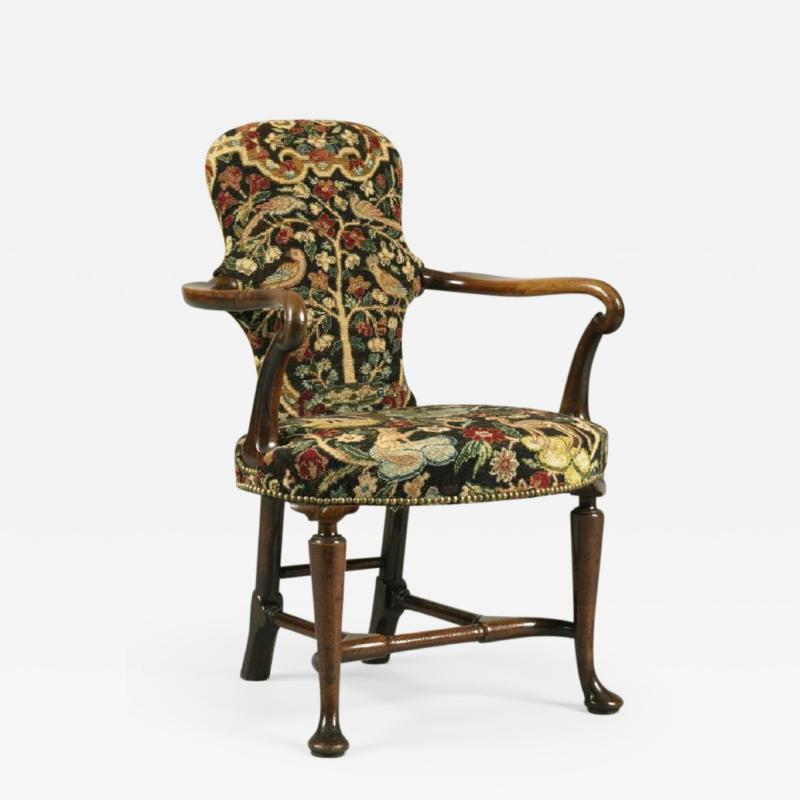 Antique English Walnut Shepherds Crook Armchair with Contemporary Needlework