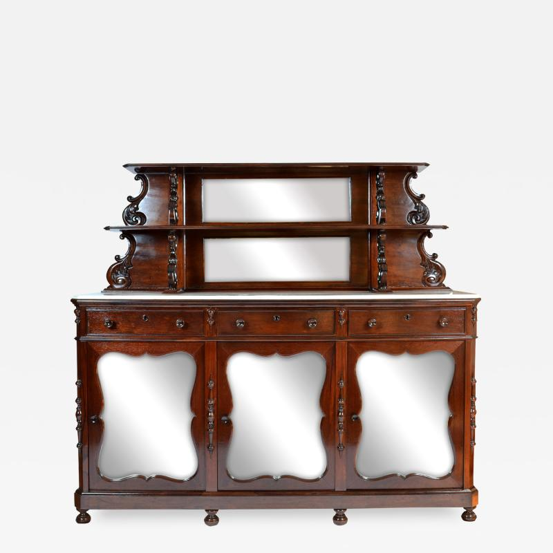 Antique Etagere Cabinet Server 19th Century Mahogany Continental