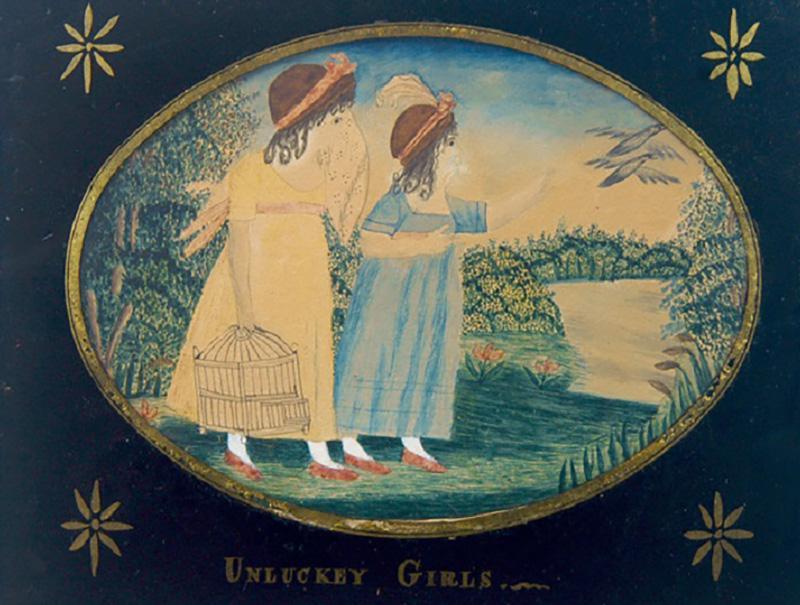 Antique Folk Art School Girl Painting of Unlucky Girls