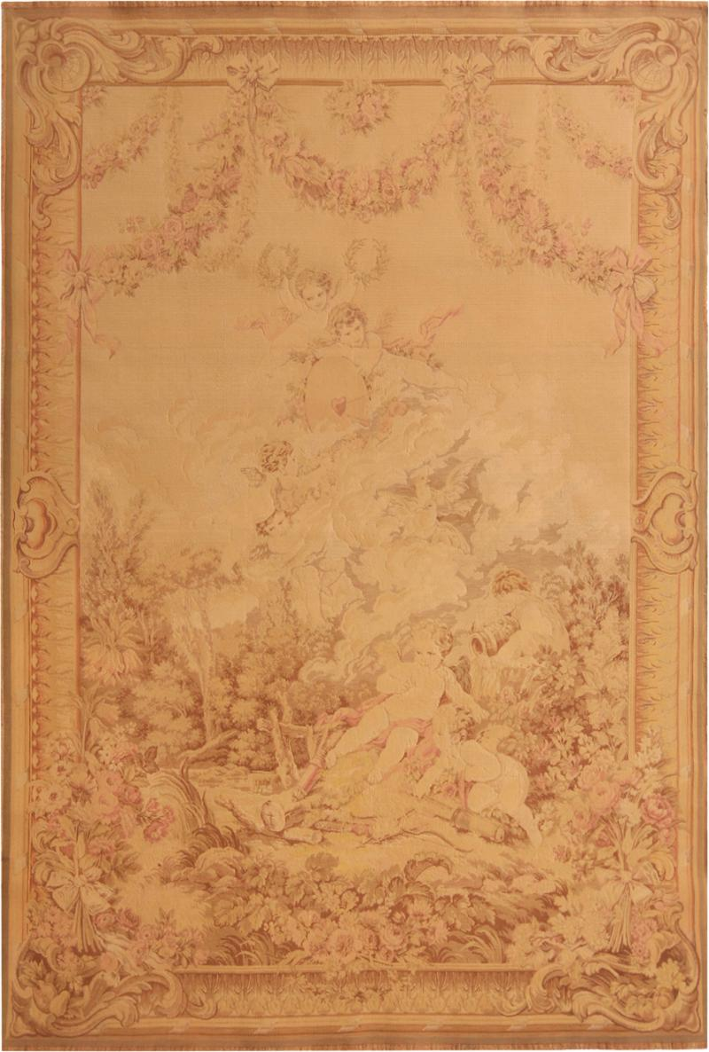 Antique French Cream Beige Wool Tapestry Rug