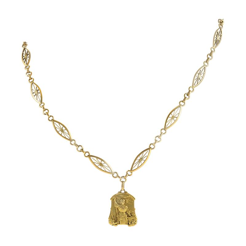 Antique French Gold Long Chain with Joan of Arc Medallion