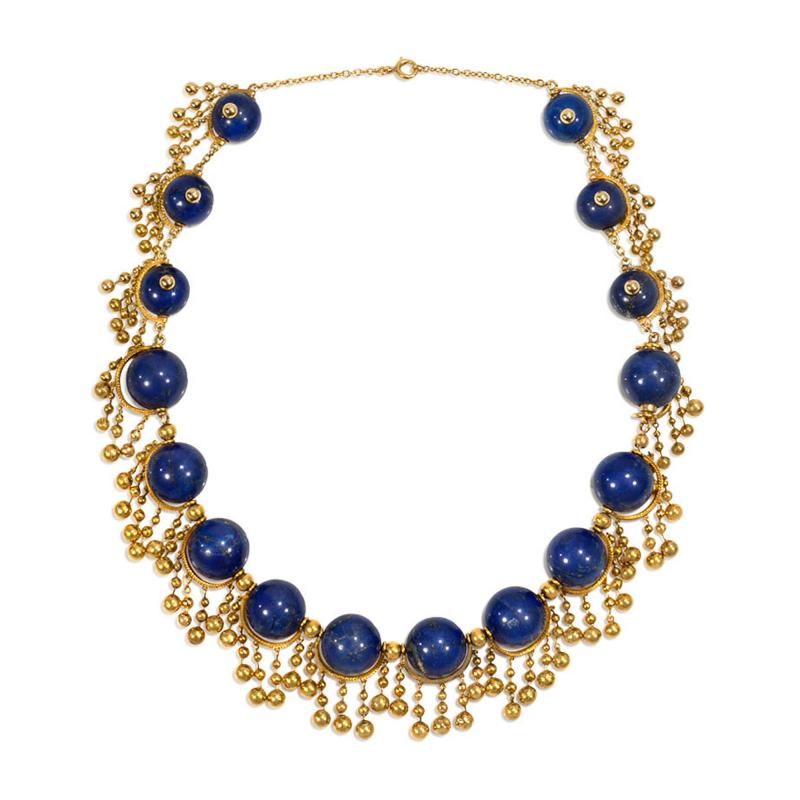 Antique French Gold and Lapis Festoon Necklace