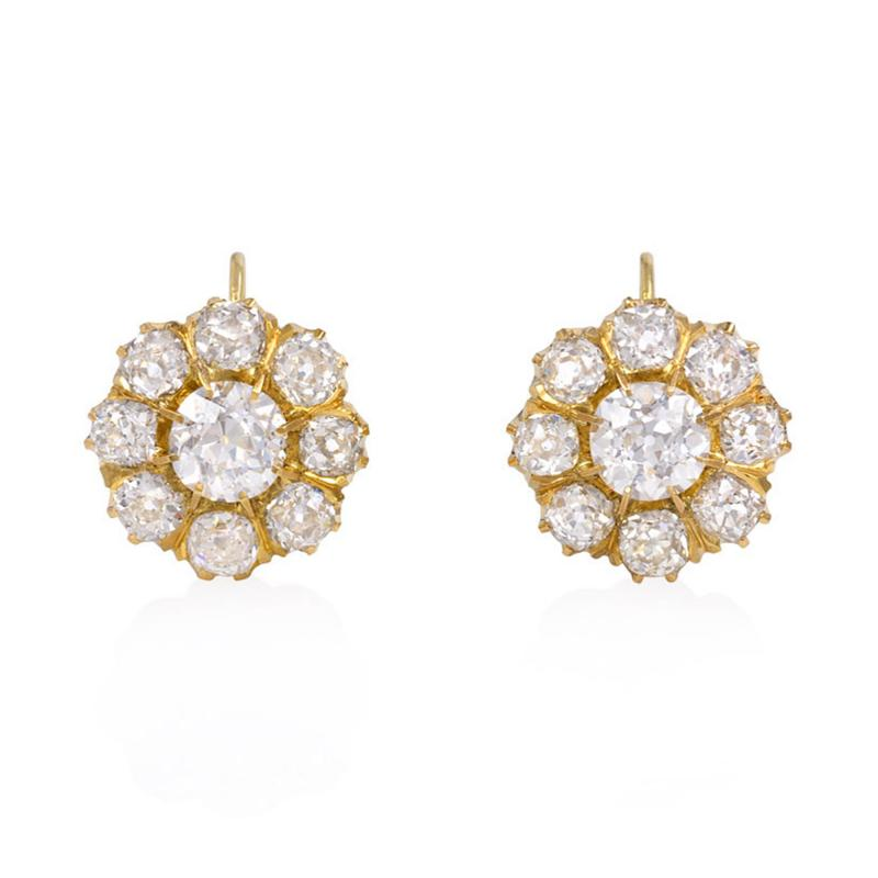 Antique Gold and Old Mine Cut Diamond Flower Cluster Earrings