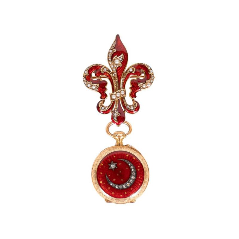 Antique Guilloche Ruby Enamel Diamond and 18 Karat Yellow Gold Lapel Watch
