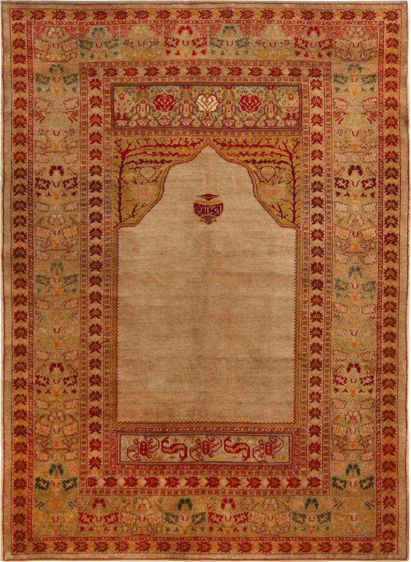 Antique Hereke Gold Beige and Red Floral Silk Rug