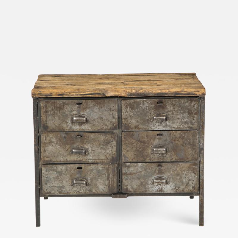 Antique Industrial Metal Chest of Drawers with Chunky Wood Top c 1900