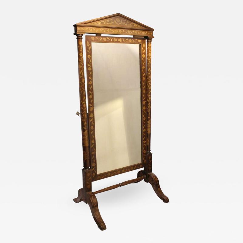 Antique Inlaid Wood Floor Mirror