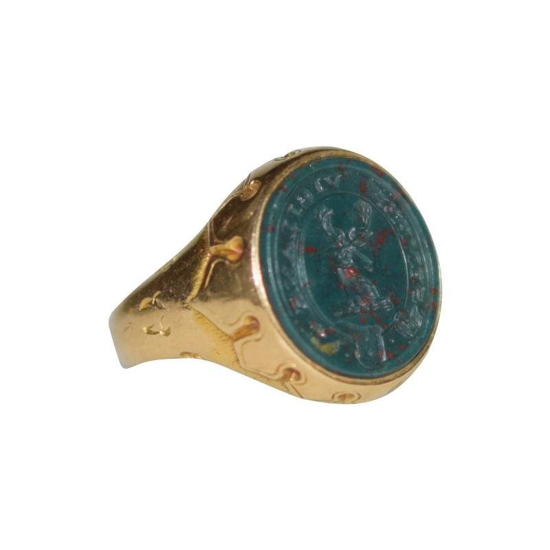 Antique Intaglio Signet Ring Blood Stone and Gold