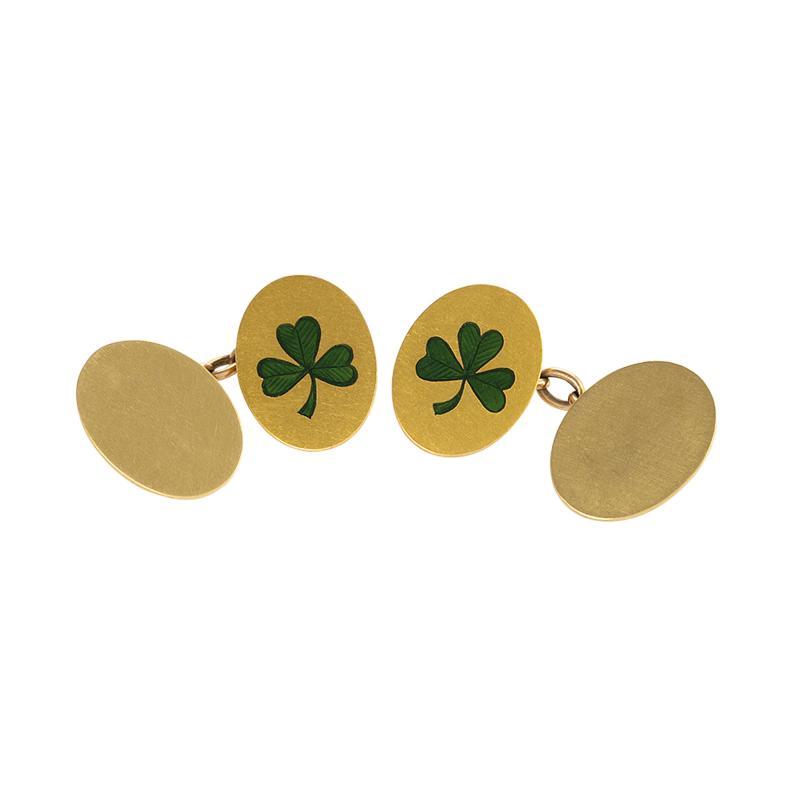 Antique Irish Double Sided Gold and Enamel Shamrock Cuff Links