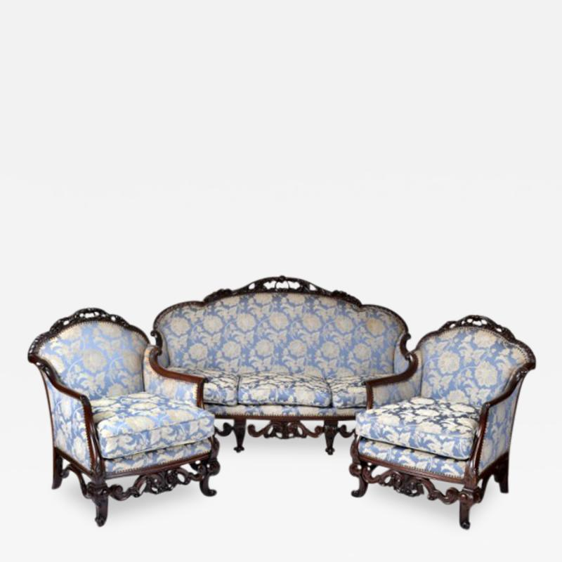 Antique Italian Walnut Carved Three Piece Suite of Sofa Two Armchairs