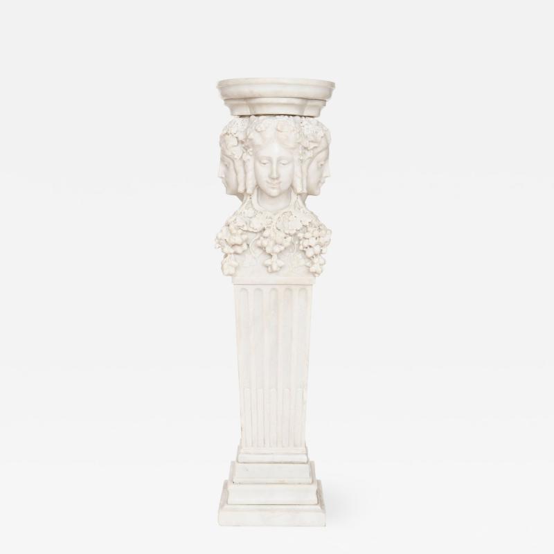 Antique Italian marble pedestal depicting Dionysus