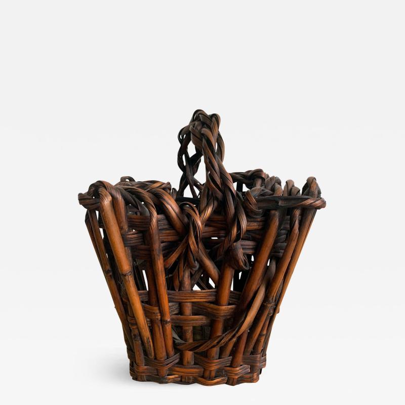Antique Japanese Bamboo Ikebana Basket with Signature