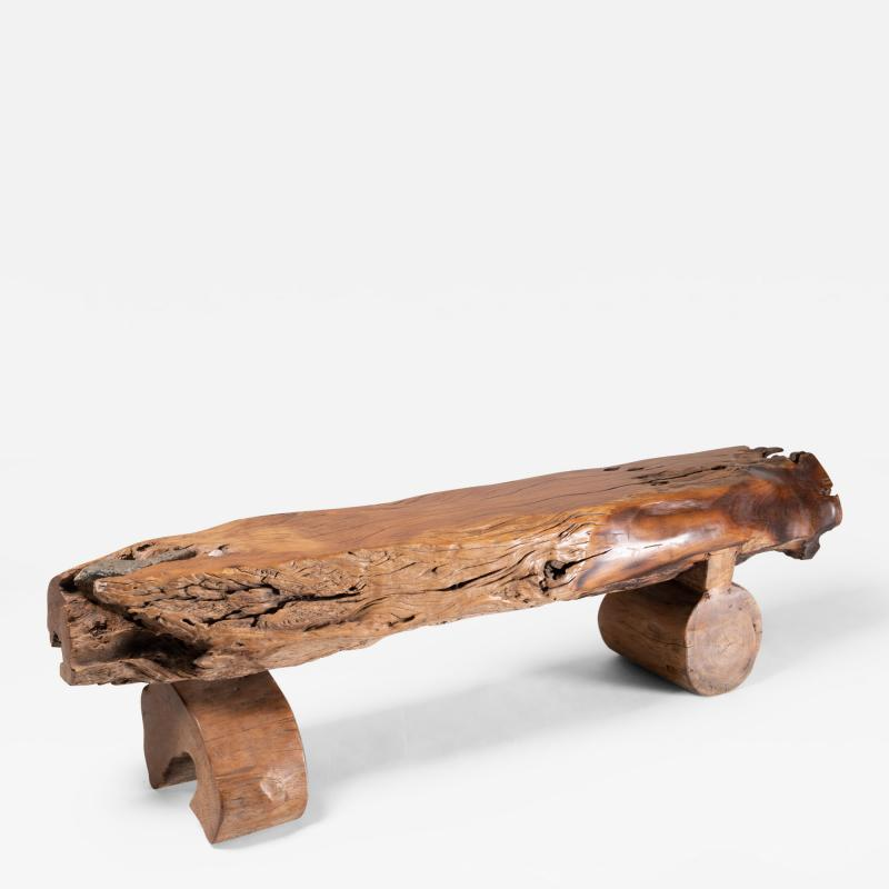 Antique Japanese Natural Form Wood Bench