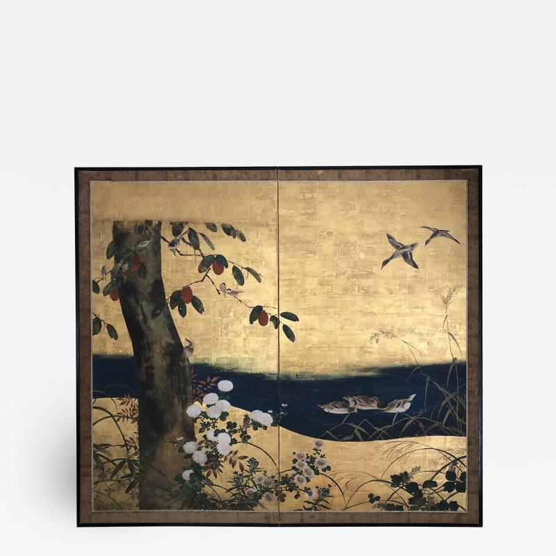 Antique Japanese Two panel Screen byobu