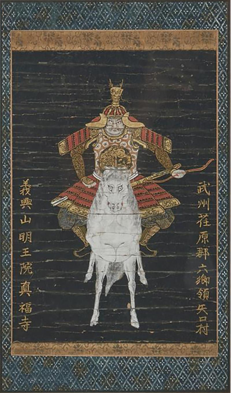 Antique Japanese Yabusame Painting of a Mounted Archer
