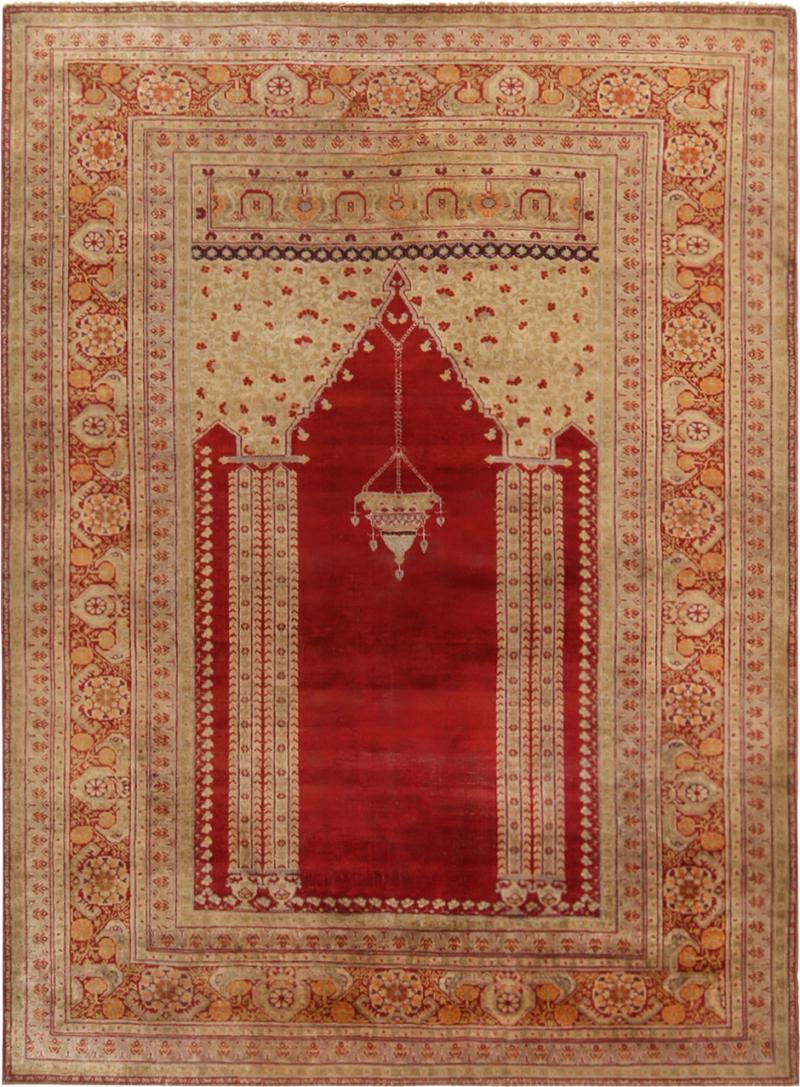 Antique Kayseri Crimson Beige Geometric Floral Rug