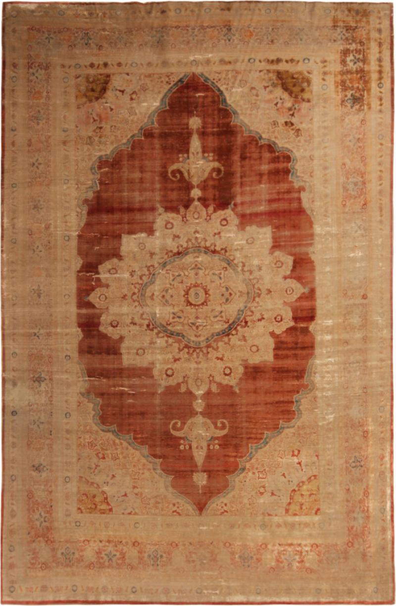 Antique Kerman Copper Brown Beige Silk Persian Rug