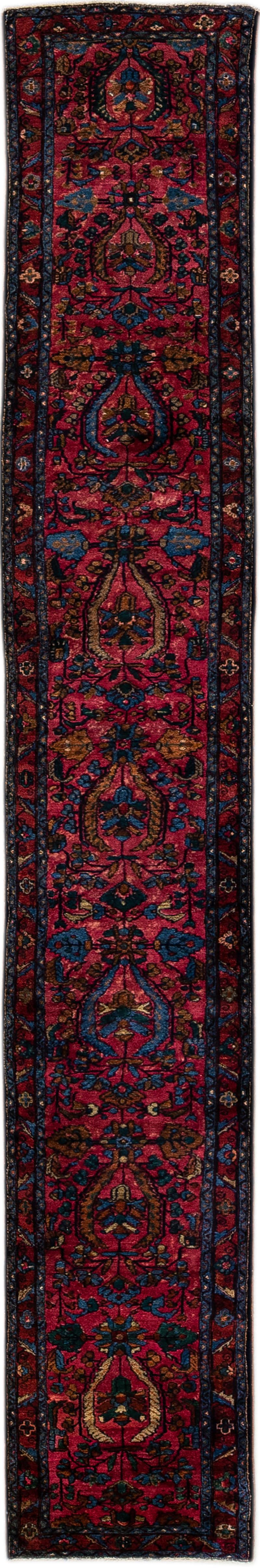 Antique Lilihan Handmade Allover Floral Motif Red Wool Runner