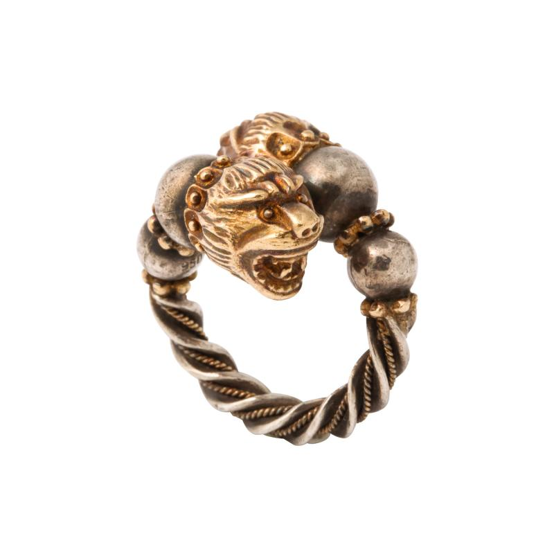 Antique Lion Headed Gold and Silver