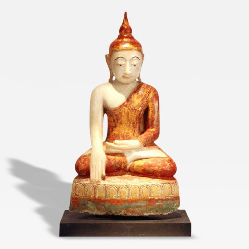 Antique Marble Seated Buddha Statue Burma Southeast Asia