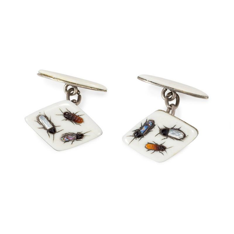 Antique Meiji Era Shibayama and Sterling Silver Cufflinks with Insect Motifs