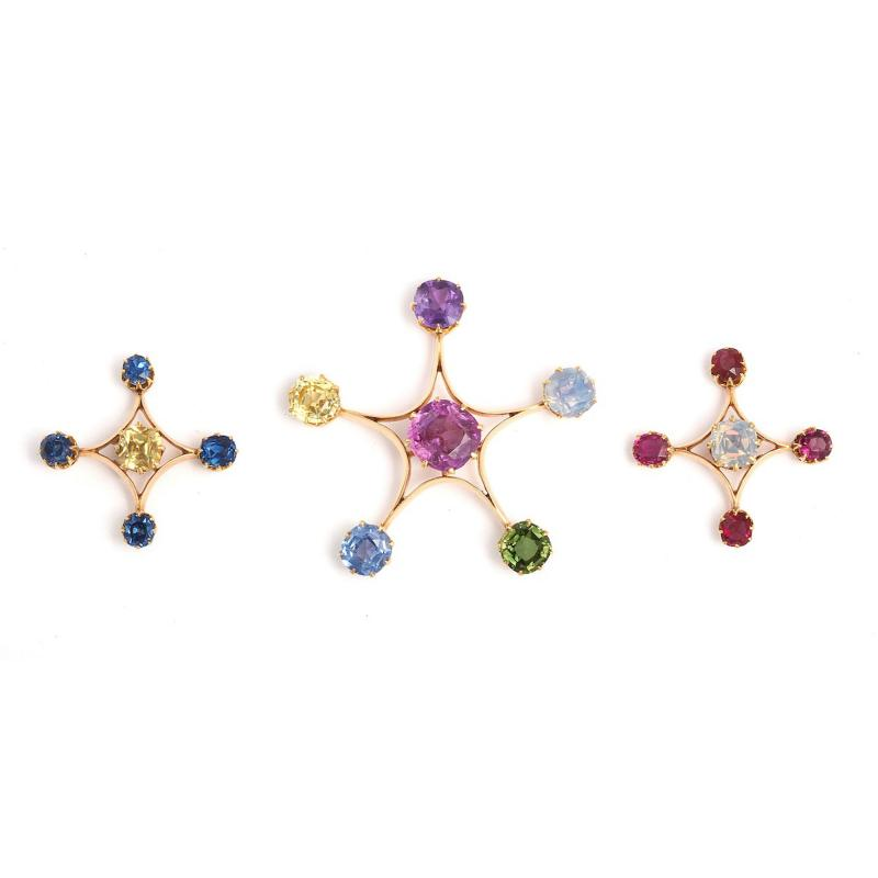 Antique Multi Color Sapphire Hair Pins Brooches in 18K Gold