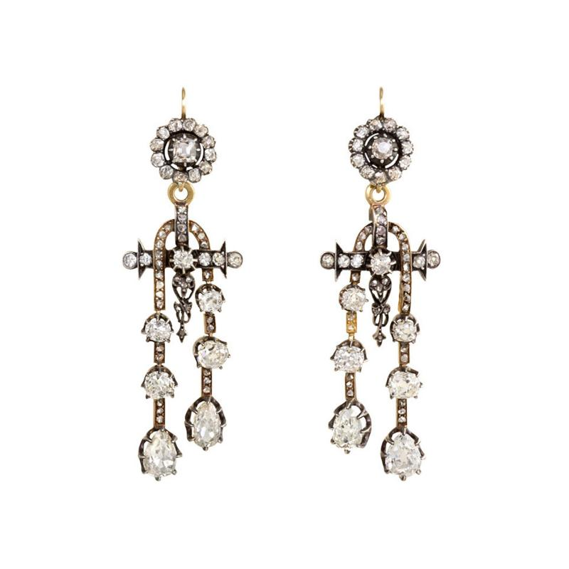 Antique N glig e Style Diamond Earrings in Silver Topped Gold