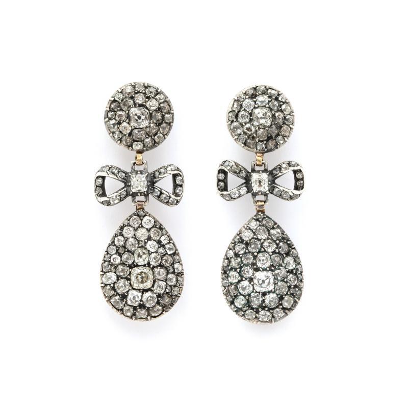 Antique Old Mine Diamond Drop Earrings